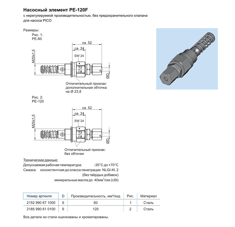 8_Насосный элемент PE-120F без предохранительного клапана